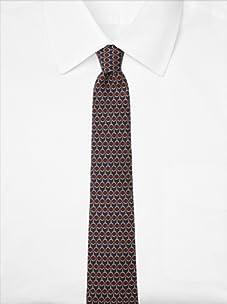 Hermès Men's Chain Link Tie, Navy/Red/Gold, One Size