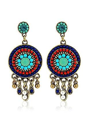 Fashion Victime Pendientes Exotic Dorado / Azul / Rojo
