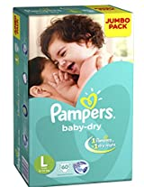 Pampers Large Size Diapers Jumbo Pack (60 Count)