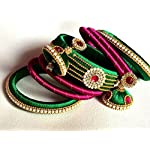 Silk Thread Bangle with Jhumka Earring Set - Green, Pink
