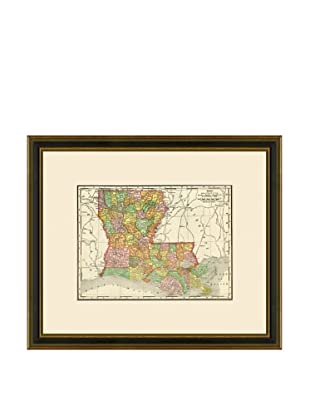 Antique Lithographic Map of Louisiana, 1886-1899