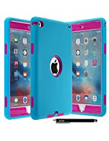 iPad Mini 4 Case - E LV Armor Defender Hybrid protection from drops and impacts with 1 Stylus and 1 Microfiber for iPad Mini 4 - [TURQUOISE/HOT PINK]