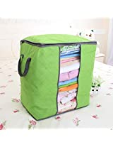 Foldable Bamboo Charcoal Nonwoven Quilt Package Fabric Sweater Clothes Blanket Storage Bag (Green S)