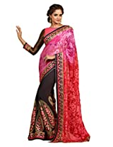 Inddus Women Brown & Pink Bridal Saree