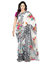 Admyrin Off-white Printed Saree with Pink Blouse Piece