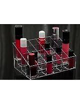 24 Slot Transparent Makeup Beauty Cosmetic Train Case Display Stand Rack Holder Tabletop Riser For Lipstick Liner Brush Nail Polisher Acrylic Organizer Showcase Aostek(Tm)