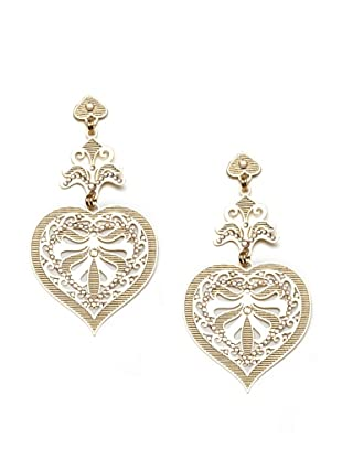 LK Designs Long Heart Earrings, Gold