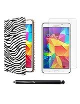 VG Zebra Print Mary Portfolio Multi Purpose Book Style Slim Flip Cover Case for Samsung Galaxy Tab4 T330/T331 8.0 (White) + Matte Screen + Stylus