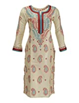 Imperial Chikan Women's Cotton Regular Fit Kurti (13016, Fawn, 38)