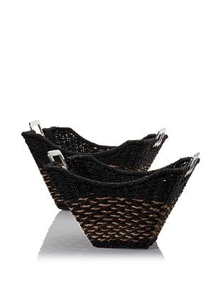 Padma's Plantation Set of 2 Sheen Stretch Nesting Baskets with Aluminum Handles (Espresso/Natural/Aluminum)