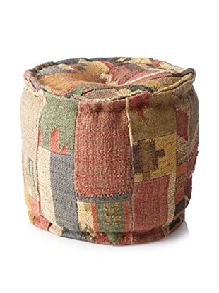 Boheme Collection Patchwook Wool Jute Pouf, Multi