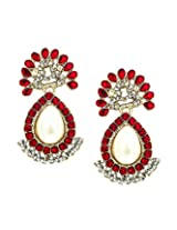 Bindhani Traditional Faux Pearl Pink Earrings For Women