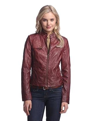 Coffeeshop Women's Faux Leather Trucker Jacket (Oxblood)