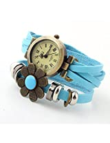 Ashiana Stylish Light Blue Leather Flower Bracelet Style Watch