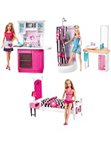 Barbie Room with Doll Assortment, Multi Color