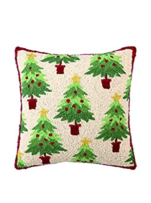 Peking Handicraft Christmas Collage Throw Pillow, Red/Green