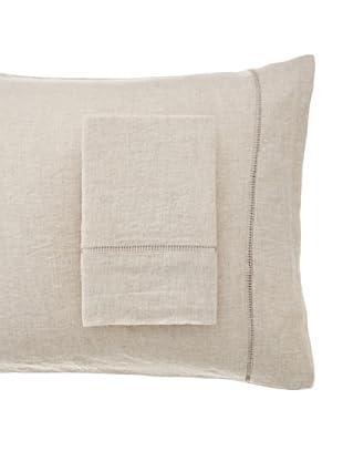 Melange Home Linen Hemstitch Pillowcase Set (Natural)
