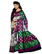 Brijraj White Green Pink Bhagalpuri Silk Beautifull Printed Saree With Unstitch Blouse