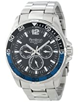 Armitron Men's 20/4829BBSV Black Dial Multi-Function Silver-Tone Bracelet Watch
