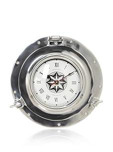 Diamond Reef Anchors Away Polished Aluminum Wall Clock