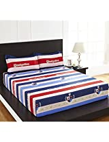 Arcade Flag Double Bed Sheet - @home By Nilkamal, Red
