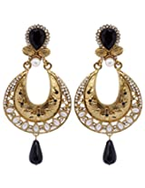 Hyderabadi Abhushan earrings with gold and black color