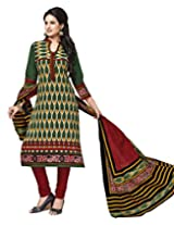 Jevi Prints Green & Maroon Cotton Printed Unstitched Dress Material