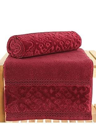 Maisonette Meltem 2-Piece Bath Towel Set, Claret Red