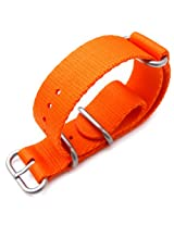 MiLTAT 22mm 3 Rings Zulu JB military watch strap ballistic nylon armband - Orange & Brushed Hardware