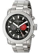 Akribos XXIV Men's AK684SSB Grandiose Swiss Quartz Multifunction Black Dial Silver-tone Stainless Steel Bracelet Watch