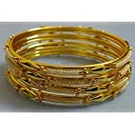 Gold Metal Alloy Pearl Traditional Bangle Gold Color Alloy Pearl Bangle Set Of 4 Size 2.4