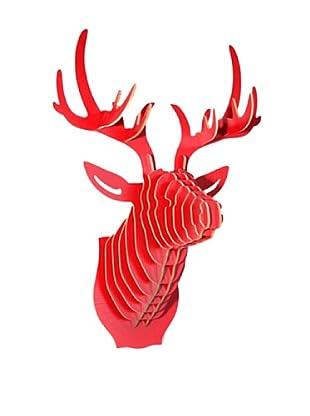 Eco Décor Laser-Cut Animal Trophy Deer Head, Red