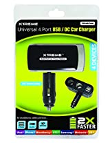 Xtreme Cables Universal 2Amp 4 Port USB Car Charger - Retail Packaging - Black