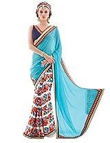 Inddus Women Turquoise Blue & White Half & Half Georgette & Chiffon Printed Fashion Saree