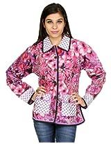 Rajrang Womens Cotton Jacket -White, Purple -Medium