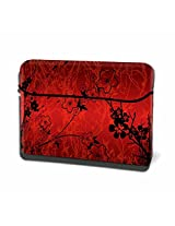 Theskinmantra Red N Black N Floral Hydraflex Universal size Laptop Sleeve 15.6 inches