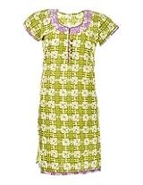 2Dots Women's Cotton Regular Fit Kurti (Green, 40 Inches)