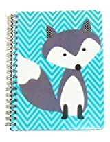 """Carolina Pad Studio C College Ruled the Hair of the Dog Spiral Notebook ~ Fox on Blue Stripes (5"""" x 7""""; 80 Sheets, 160 Pages)"""