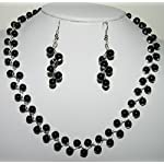 Kalakrita - ZigZag Black Glass Necklace Set