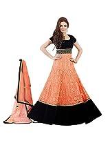 Adah Fashions Womens Velvet & Net Anarkali Dress Material (100-57012 _Orange _42)