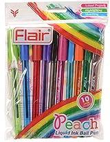 FLAIR Peach Liquid Ink Ball Pen (10 Pieces)