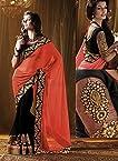 5Star Indian Designer Orange Half-Half Saree with Lace border 5S-5304
