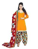 Divisha Fashion Yellow Cotton Printed Patiyala Suit with Dupatta