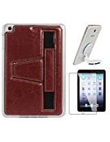 DMG Premium TPU Skin with PU Leather Hand Holder Cover Case For Apple iPad Mini / Mini 2 / Mini 3 (Brown) + Universal Octopus Swivel Stand Mount + Matte Screen