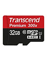 Transcend 32GB MicroSDHC Class10 UHS-1 Memory Card with Adapter 45 MB/s (TS32GUSDU1E)