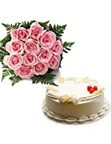 15 Pink Roses with Pineapple Cake