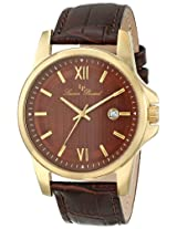 Lucien Piccard Men's 10048-YG-04 Breithorn Brown Textured Dial Brown Leather Watch