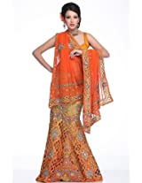 Flame orange embroidery lehanga unstitched