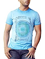 Masculino Latino Casual Blue T-shirts Round Neck for Men MLT3004A-L