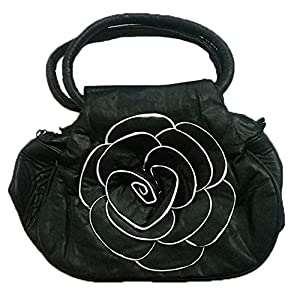Stylish Rose Design Girls Cross Hand Bag Clutch Money Purse for Women - Black